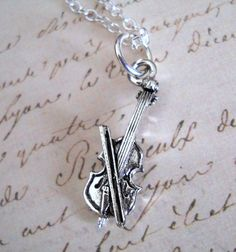 Silver Violin Charm Necklace with 18 inch chain by lucindascharms, $10.50