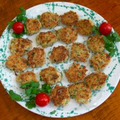 Appetizer-sized Crab Cakes are pictured; the recipe is the same, just portion off the crab into bite-sized cakes
