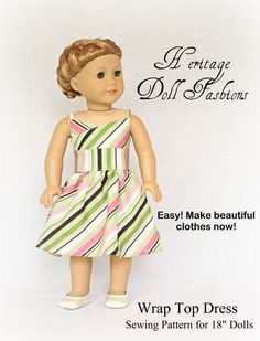 American Girl Doll Clothes Pattern: The Wrap Top Dres $3.99