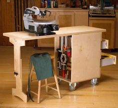 Woodworking Shop Shop Cart/Workbench Woodworking Plan from WOOD Magazine Woodworking Bench Plans, Workbench Plans, Wood Plans, Woodworking Shop, Woodworking Crafts, Garage Workbench, Folding Workbench, Woodworking Classes, Woodworking Workshop
