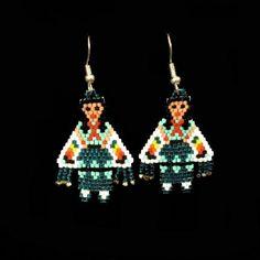 Green Shawl Dancer Beaded Earrings