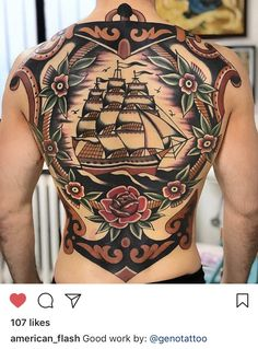 125 Best Back Tattoos For Men: Cool Ideas + Designs Guide) - Amazing Full Back Tattoo Designs For Guys – Best Back Tattoos For Men: Cool Back Tattoo Designs F - Chest Piece Tattoos, Pieces Tattoo, Body Art Tattoos, Sleeve Tattoos, Back Piece Tattoo Men, Ship Tattoos, Cool Back Tattoos, Upper Back Tattoos, Back Tattoos For Guys