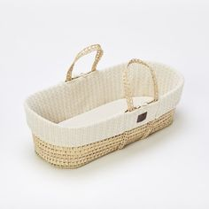 The Little Green Sheep Organic Knitted Moses Basket & Mattress - Dove - - Baby Nest - Baby Equipment in Surrey, UK Natural Sleep, Natural Linen, Moses Basket Stand, Bedside Crib, Baby Moses, Baby Equipment, Baby Nest, Cable Knit, New Baby Products