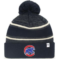 outlet store 6badc 985fb Chicago Cubs Fairfax Cuffed Knit Hat with Pom by  47