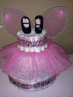 Butterfly/zebra print diaper cake I made for my niece.