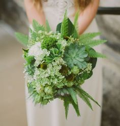 An all green bouquet with succulents, ferns + hydrangea