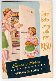 Vintage Cookbook General Electric Refrigerator 1950s Mom and Child (Image1)Reminds me of our Mother/Daughter dresses.