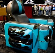 Custom chair and home-theater builder First Impressions showcases its manly Harley-Davidson Armchair Car Furniture, Automotive Furniture, Automotive Decor, Funky Furniture, Automotive Carpet, Automotive Logo, Automotive Engineering, Automotive Tools, Unique Furniture