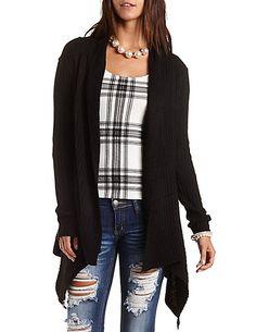 Ribbed Cascade Cardigan Sweater: Charlotte Russe #charlotterusse #charlottelook #ribbed #cardigan #sweater