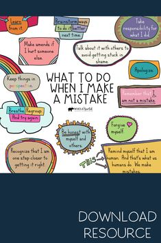 This free Social Emotional Learning (SEL) Growth Mindset Poster reminds us of pro-active steps to take when we make a mistake. Use this in your counseling office, classroom, or at home. Elementary School Counseling, School Social Work, School Counselor, Social Work Offices, Elementary Schools, Counseling Activities, Therapy Activities, Leadership Activities, Group Activities
