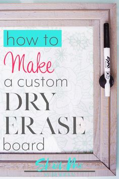 Keep your life organized with a cute, custom dry erase board! This easy DIY project is perfect for chore lists, weekly menus, to-do lists, and more! Memo Boards, Family Command Center, Command Centers, Reminder Board, Calendar Reminder, Chore Board, Picture Frame Crafts, Linen Closet Organization, Bathroom Organization