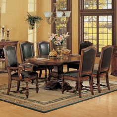 Ashford Wood Pedestal Dining Table & Leather Chair in Cherry by Winners Only | Humble Abode