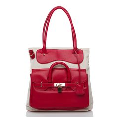 Layton by ShoeDazzle. Bought this bag & have yet to wear it...I had mixed feelings about it b/c of the cloth material, but the ladies in the office seemed to love it; so we will see...