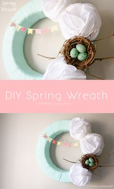 Easter Wreath with Washi Tape bunting and fluffy white flowers || love the colors!