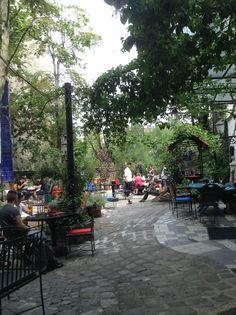 The cafe and garden behind Kunsthaus in Vienna. Great food and wonderful views of the back of the Hundertwasser museum.
