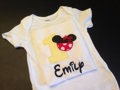 Hey, I found this really awesome onesie Etsy listing at https://www.etsy.com/listing/194645989/minnie-first-birthday-bodysuit