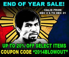 Shop for authentic and exclusive gear from the official Manny Pacquiao website and store. Up to 20% OFF select products by using coupon code 2014BLOWOUT during Checkout. Good until December 31st, 2014.