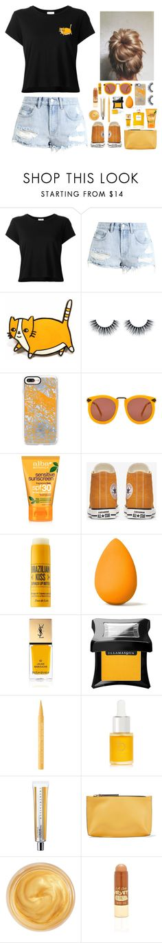 """""""*Orange and black*"""" by gussied-up on Polyvore featuring RE/DONE, Billabong, Casetify, Karen Walker, Alba Botanica, Sol de Janeiro, beautyblender, Yves Saint Laurent, Illamasqua and Too Faced Cosmetics"""