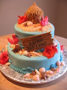 Luau Beach Birthday Cake - Chocolate and Vanilla cake with butter cream frosting. Shells are chocolate. Flowers, sign, flamingo and outside of the hut are fondant. Sand was a mix of vanilla wafers, gram cracker and brown sugar. Everything edible!