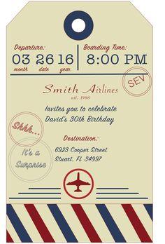 Aviation/Airplane birthday invite, adult, invitation, luggage tag invitation,