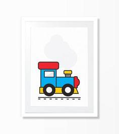 Train nursery illustration colour digital by DesignIsJust on Etsy