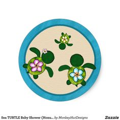 Sea TURTLE Baby Shower (Honu) 032B Seal Sticker