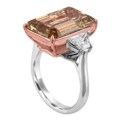 12.62 Carat Emerald Cut Diamond Ring | From a unique collection of vintage three-stone rings at https://www.1stdibs.com/jewelry/rings/three-stone-rings/