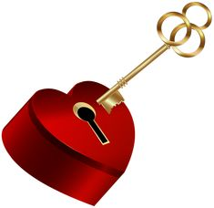 Heart with Key PNG Clip Art Image