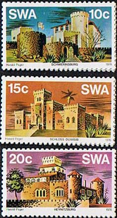 South West Africa 1976 Castles Set    Fine Mint SG 287 9 Scott 388 90     Other African and British Commonwealth Stamps HERE!