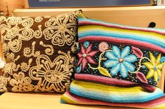 Textiles from Ayacucho, Peru. Faustino Flores, voted one of the top weavers by the University San Cristobal de Huamanga, combines his technical ability with Andean History. Expressions of love, nature, and the emotions associated with the origins of his Wari ancestors.  You can purchases these or other throw-pillows at Roanoke Museum Store in 2nd level of NMAI, DC or by 202-633-7030. Click for more information.