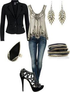 0199956161ee Fun dressed up casual part look - skinny jeans, spiky shoes, metallic shell  and black jacket midlife chic  style  fashion