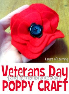 red poppy craft for veterans day or remembrance day (November 11)