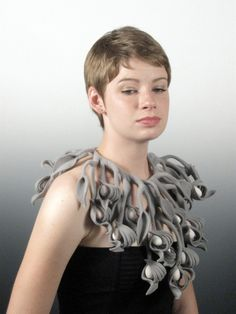 Lilyana Bekic - Grey Corollarium - Hand formed and stitched felt and silk cocoons. Felt Flower Scarf, Felt Flowers, Textiles, Textile Jewelry, Felted Jewelry, Textile Art, Felt Necklace, Felted Wool Crafts, Mixed Media Jewelry