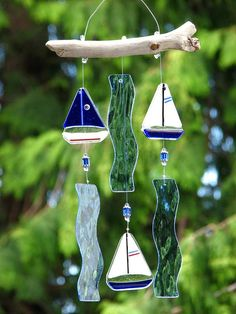 Fused Glass Sailboat Wind Chime