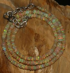 """27 CRT 3-4 MM 16"""" STRAND NATURAL ETHIOPIAN WELO FIRE OPAL  BEADS NACKLACE- 57094"""