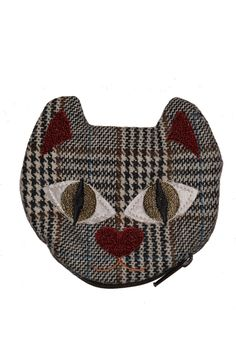 Made with recycled materials this cute kitty coin pouch also helps to raise money for the protection of stray animals in Colombia. It is large enough to fit cards and even your favorite lipstick!  Measures approximately 4.5'' x 4.5''  Kitty Coin Pouch by Currucutu. Bags - Wallets & Wristlets Montreal Canada