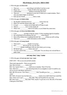 This worksheet contains a few excercises on such topics: - Much / many - few / a few, little / a little - Not any (no) / any / some Grammar: FEW or A FEW, LITTLE. English Grammar Rules, Teaching English Grammar, English Grammar Worksheets, Grammar Lessons, English Language, English Tips, English Lessons, English Teaching Materials, English Exercises