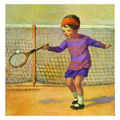 Jessie Willcox Smith Greeting Cards : Girl Playing Tennis