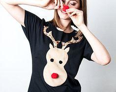 christmas tshirt, reindeer tshirt, rudolph tshirt, gift for her, holiday shirt, christmas gift, black tshirt, womens clothes, handmade shirt
