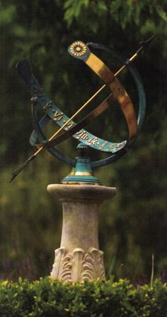 Flower Garden Gina I would love to find something like this! … - Position garden sundials for proper use and display guide to positioning sundials correctly to track seasons and time Sundial, Garden Structures, Garden Statues, Garden Ornaments, Dream Garden, Yard Art, Garden Inspiration, Outdoor Gardens, Garden Design