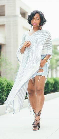 Sweenee Style, Spring Outfit Idea, Summer Outfit Idea, H&M poncho, Distressed Denim Shorts, Denim Shorts + Fashion Blogger, Indiana Fashion Blog