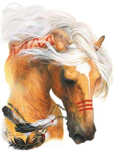 Beautiful Painted American Indian Palomino War Pony.