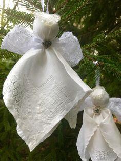 Angel Ornament from a vintage handkerchief Diy Christmas Angel Ornaments, Christmas Angels, Christmas Crafts, Christmas Decorations, Christmas Poinsettia, Crochet Ornaments, Crochet Snowflakes, Crochet Christmas, Cowboy Christmas