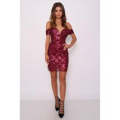 RED SCALLOP SEQUIN BARDOT DRESS - 1001noches