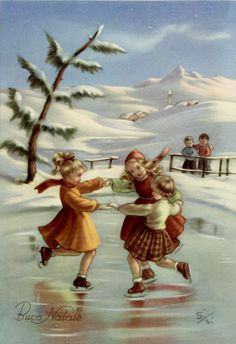 Girls Winter Sport on Ice Mountains Xmas Vintage PC Circa 1950 Vintage Christmas Images, Victorian Christmas, Retro Christmas, Christmas Pictures, Illustration Noel, Christmas Illustration, Christmas Scenes, Christmas Past, Xmas