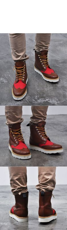 Funky Contrast Wingtip Boots-Shoes 137 - GUYLOOK