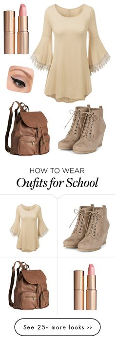 """Goin to school"" by labradorlover12 on Polyvore featuring H&M, Charlotte Tilbury and LORAC"