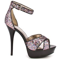 Put some sparkle in your step with Ku Doze from Luichiny, the ultimate party sandal! Ku Doze brings you a strappy upper in multicolored, pink toned sparkles edged in black. Two straps at the vamp and an ankle strap keep these sky high party sandals on your feet, while the 1 inch platform and 4 3/4 inch stiletto heel perfect these party shoes.