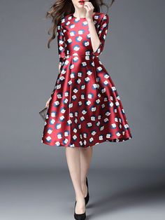Red Printed Polyester Midi dress