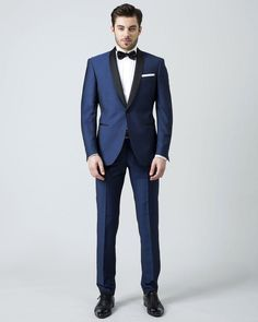 2016 nuevos hombres de la llegada trajes azul trajes de boda para hombre  chal negro solapa 20a27db80c5